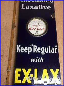 VINTAGE EX-LAX PORCELAIN SIGN DIAL THERMOMETER 36 X 8 Drug Store Gas And Oil