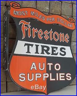 Vintage Firestone Tires Auto Supplies Porcelain Gas & Oil Flange Sign, 2 Sided