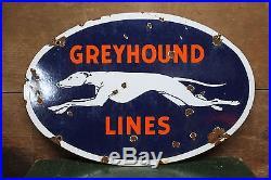 Vintage Greyhound Bus Lines Porcelain Sign Service Station Gas Oil