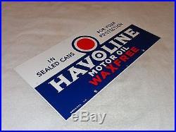Vintage Havoline Wax Free 21 1/2 X 10 1/2 Porcelain Gas & Motor Oil Sign Nr