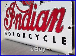 VINTAGE INDIAN MOTORCYCLES HEAVY 19 3/4 x 13 PORCELAIN AUTO GAS & OIL SIGN
