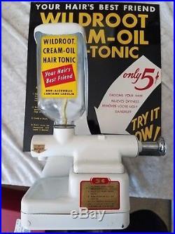 VINTAGE METAL SIGN WILDROOT CREAM OIL Dispenser BARBER USA 5c WOW