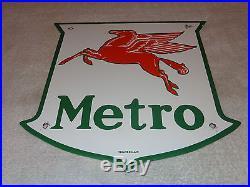 Vintage Mobil Mobilgas Metro 11 3/4 Porcelain Gas & Oil Sign! Pump Plate! Nr