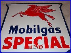 Vintage Mobil Mobilgas Special 12 Porcelain Pegasus Sign Gas & Oil! Pump Plate