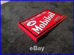 VINTAGE MOBIL MOBILOIL 18 x 12 DOUBLE SIDED PORCELAIN GASOLINE OIL FLANGE SIGN