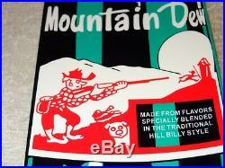 VINTAGE MOUNTAIN DEW With HILLBILLY BOTTLE DIE-CUT 15 METAL SODA POP GAS OIL SIGN