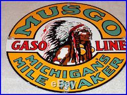 Vintage Musgo Michigan's Mile Maker 11 3/4 Porcelain Gas & Oil Sign! No Reserve