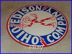 VINTAGE OHIO EDISON COMPANY With REDDY KILOWATT 10.5 PORCELAIN METAL GAS OIL SIGN