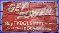 VINTAGE ORIGINAL 1950s FLYING A GAS OIL TYDOL ETHYL ADVERTISING BANNER