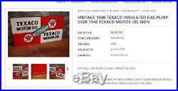 Vintage Original Texaco Insulated Motor Oil 21.5 X 11.2 Metal 2 Sided Gas Sign