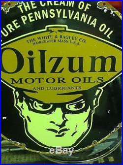 VINTAGE PORCELAIN OILZUM SIGN large 18 inch gas oil