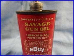 VINTAGE SAVAGE GUN OIL RED CAN with METAL SPOUT & LID HANDY OILER LEAD TOP