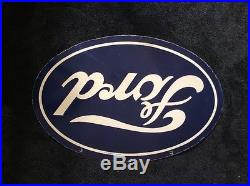 Vintage Scarce Ford Cars & Trucks 36 X 24 Double Sided Porcelain Gas+ Oil Sign