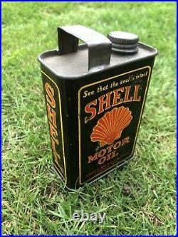 VINTAGE SHELL MINIATURE MOTOR OIL CAN TIN ADVERTISING 1920s GARAGE AUTOMOBILIA