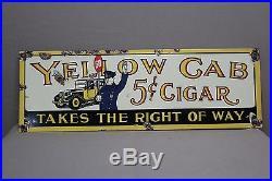 Vintage Yellow Cab 5cent Cigar Porcelain Sign Garage Service Station Gas Oil