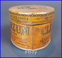 VTG 1920s CLEANZUM Hand Cleaner Tin Can Oil Gas Oilzum White & Bagley Antique