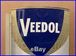 Veedol Oil Flange Sign Vintage Original Flying A NOS Double Sided Gas Metal