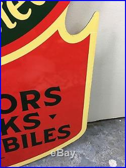 Very Rare! Vintage Oil Pull Double Sided Metal Flange Sign Porcelain Pump NR