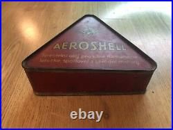 Very Rare Vintage Old Original Shell Aeroshell Triangle Oil Can