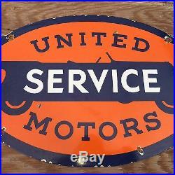 Vintag United Service Motors Porcelain Sign Gas Oil Station Pump