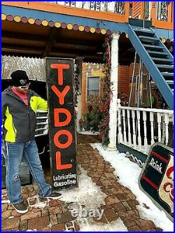 Vintage 1920's Vertical Tydol Gasoline Gas Oil Rare Sign With wood Frame 72X15in