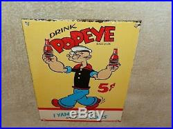 Vintage 1929 Drink Popeye The Sailor Man Soda 12 Porcelain Metal Gas Oil Sign