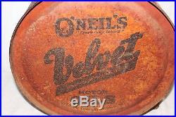 Vintage 1929 O'Niels Velvet Motor Oil 5 Gallon Metal Rocker Can Gas Station Sign