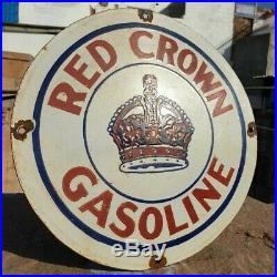 Vintage 1930 Old Antique Rare Red Crown Gasoline Oil Porcelain Enamel Sign Board