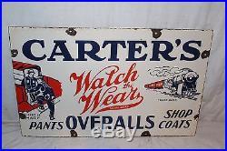 Vintage 1930's Carter's Overalls Pants Coats Gas Oil 24 Porcelain Metal Sign