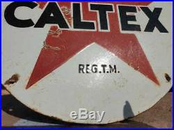 Vintage 1930's Old Antique Very Rare Caltex Oil Ad. Porcelain Enamel Sign Board