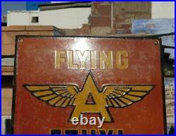 Vintage 1930's Old Very Rare Flying A Oil Gasoline Porcelain Enamel Sign Board