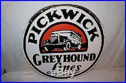 Vintage 1930's Pickwick Greyhound Bus Gas Oil 2 Sided 24 Porcelain Metal Sign