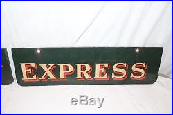 Vintage 1930's Railway Express Railroad Train Gas Oil Metal Porcelain Sign