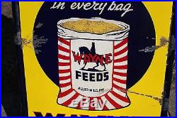 Vintage 1930's Wayne Feeds Cow Pig Chicken Farm Gas Oil 48 Porcelain Metal Sign