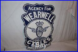 Vintage 1930's Wearwell Cycles Bicycle Gas Oil 2 Sided 30 Porcelain Metal Sign