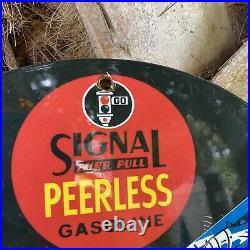 Vintage 1931 Signal Gasoline Porcelain Sign USA Peerless Gas Pump Plate Oil 12