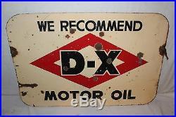 Vintage 1940's D-X Motor Oil Gas Station 2 Sided 30 Porcelain Metal Sign