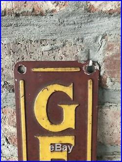 Vintage 1940's General Motors Chevrolet Gas Oil 29 Embossed Metal SignNice