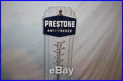Vintage 1940's Prestone Anti-Freeze Gas Oil 37 Porcelain Metal Thermometer Sign