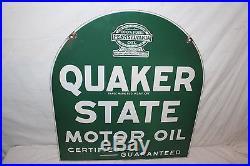 Vintage 1940's Quaker State Motor Oil 2 Sided 29 Porcelain Metal SignNice