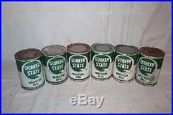 Vintage 1940's Quaker State Motor Oil Gas Station Display With6 Metal Cans Sign