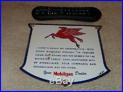 Vintage 1947 Mobil Mobilgas Dealer Rest Room Porcelain Metal Gasoline & Oil Sign