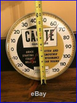 Vintage 1950's Casite Motor Oil Gas Station 12 Metal Thermometer Signworks