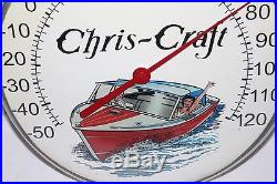 Vintage 1950's Chris Craft Motor Boat Gas Oil 12 Metal Glass Thermometer Sign