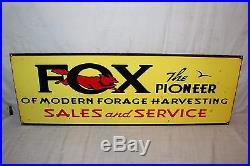 Vintage 1950's Fox Forage Cow Farm Equipment Gas Oil 35 Porcelain Metal Sign