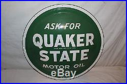 Vintage 1950's Quaker State Motor Oil Gas Station 24 Bubble Front Metal Sign