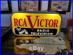 Vintage 1950's RCA Victor Radio Television Gas Oil 2 Side 23 Lighted Metal Sign