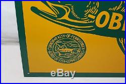 Vintage 1950's Want Good Fishing Obey The Law! Gas Oil Hunting 18 Metal Sign