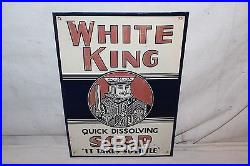 Vintage 1950's White King Soap Kitchen Gas Oil 14 Embossed Metal Sign