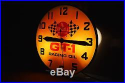 Vintage 1950s Kendall GT-1 Racing Oil Lighted Service Station Clock Sign Swihart